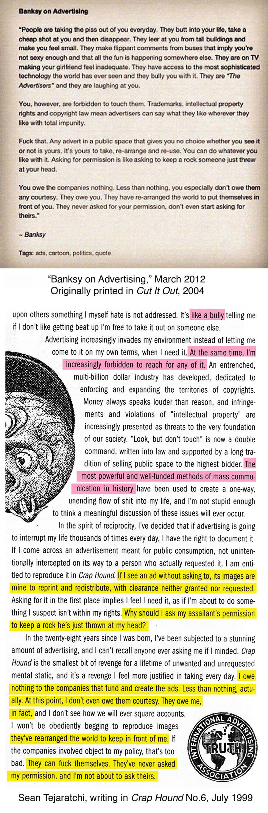 Banksy quote on ads