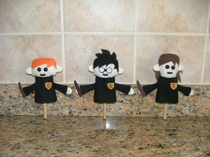 trio of Harry Potter puppets